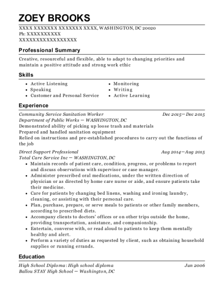 Community Service Sanitation Worker resume format District of Columbia
