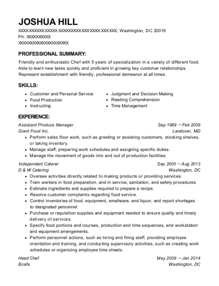 Assistant Produce Manager resume format District of Columbia