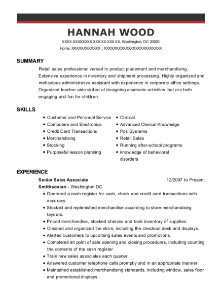 Senior Sales Associate resume format District of Columbia