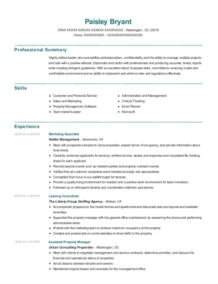 Marketing Specialist resume sample District of Columbia