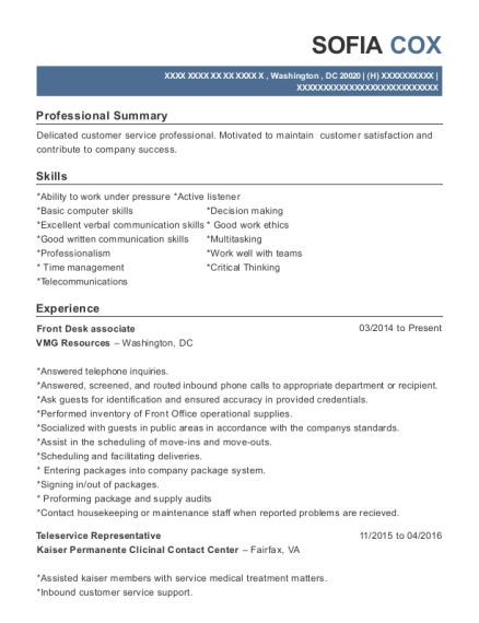 Front Desk associate resume format District of Columbia