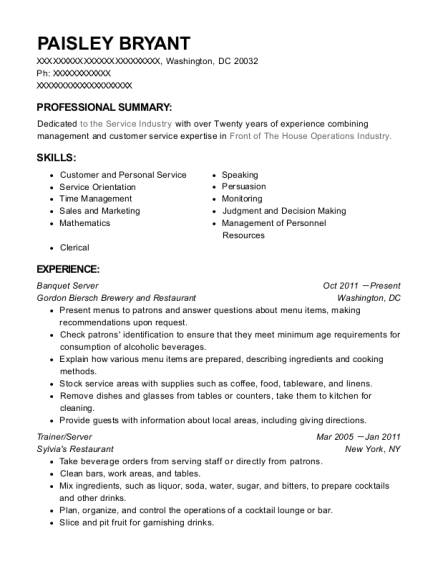 Banquet Server resume format District of Columbia