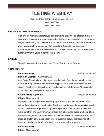 Room Attendant resume example District of Columbia