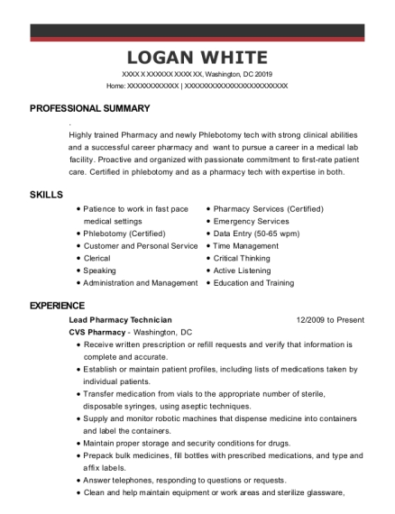 Lead Pharmacy Technician resume format District of Columbia