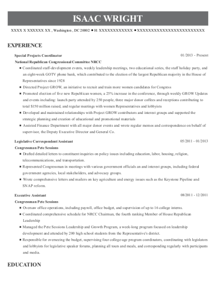 Special Projects Coordinator resume example District of Columbia
