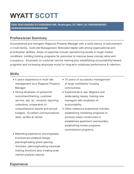 Regional Property Manager resume format District of Columbia