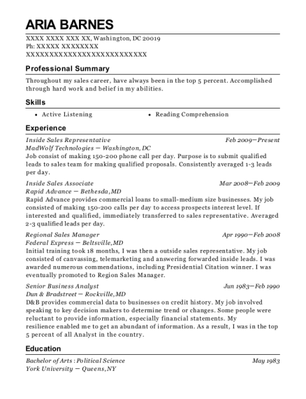 Inside Sales Representative resume template District of Columbia