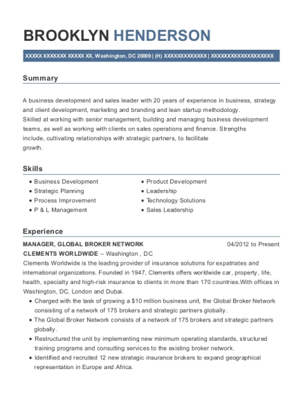 MANAGER resume sample District of Columbia