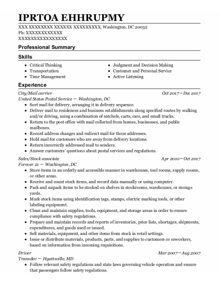 City Manager resume template District Of Columbia