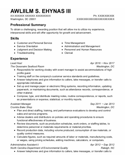 Lead Host resume example District Of Columbia