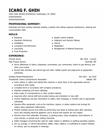 Process Server resume sample District Of Columbia