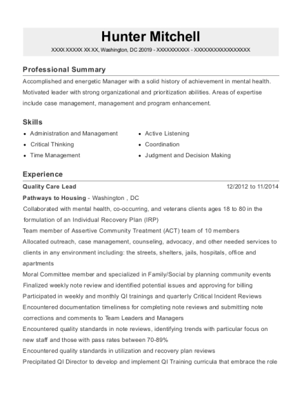 Quality Care Lead resume sample District of Columbia