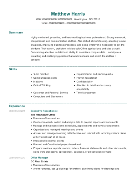 Executive Receptionist resume example District of Columbia