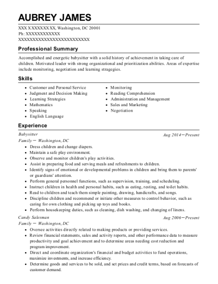 Babysitter resume template District of Columbia