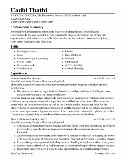Building Contractor resume template ENGLAND