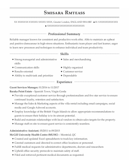 Guest Services Manager resume sample ENGLAND