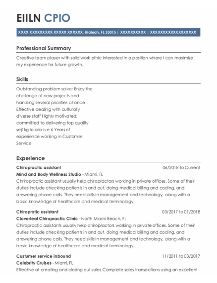 Chiropractic Assistant resume template Florida