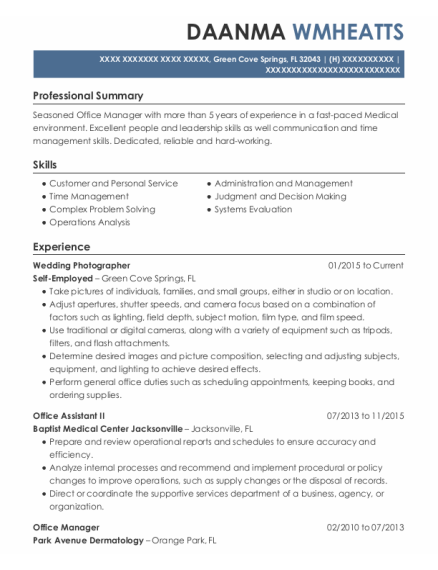 Office Assistant Ii resume example Florida