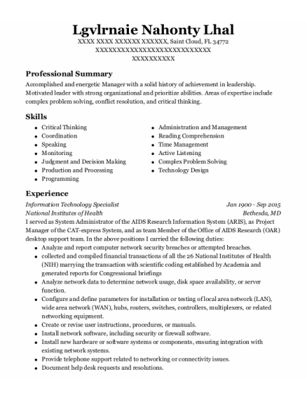 Information Technology Specialist resume sample Florida