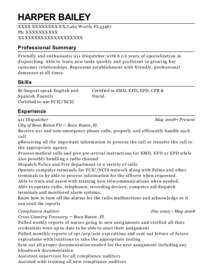 911 Dispatcher resume example Florida