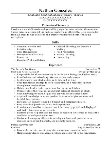 Cook and Retail Assistant resume format Florida