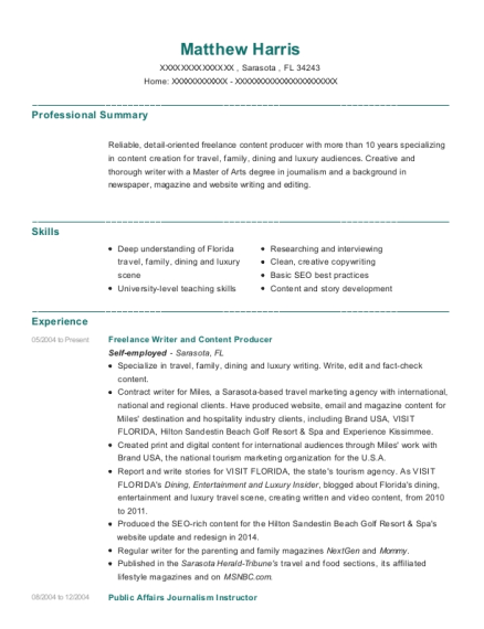 Freelance Writer and Content Producer resume format Florida
