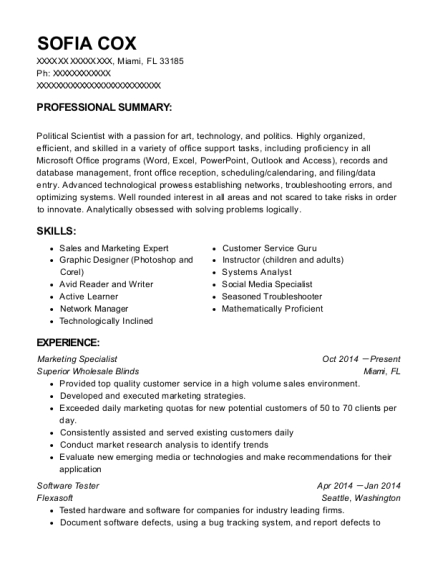 Marketing Specialist resume template Florida