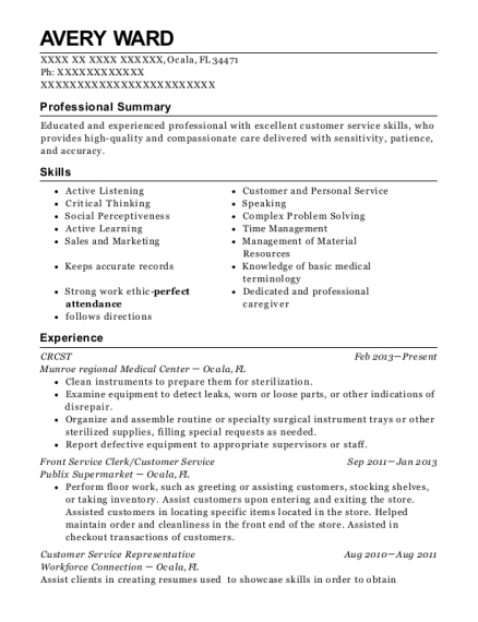 CRCST resume template Florida