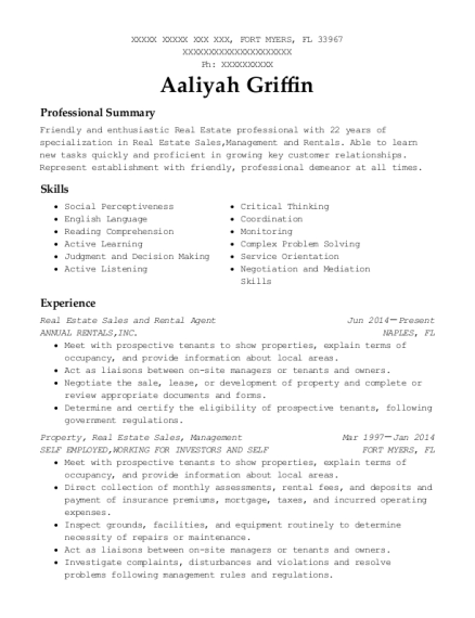 Real Estate Sales and Rental Agent resume example Florida
