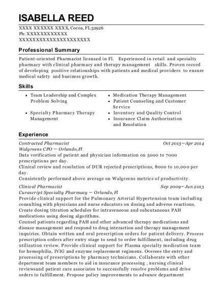 Contracted Pharmacist resume format Florida