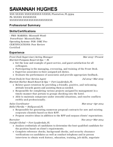 Front Desk Supervisor resume sample Florida