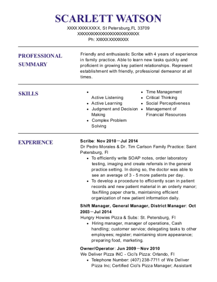 Scribe resume example Florida