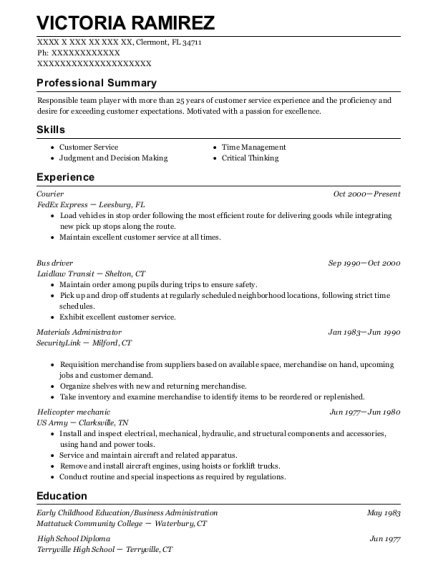 Courier resume sample Florida