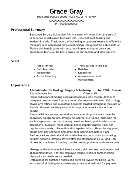 Administrator for Urology Surgery Scheduling resume example Florida