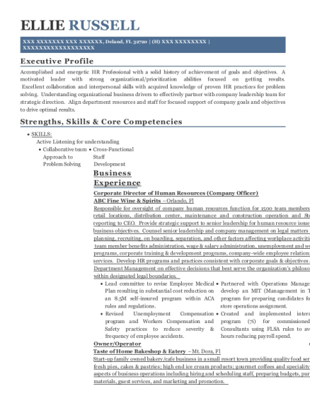 Corporate Director of Human Resources resume example Florida