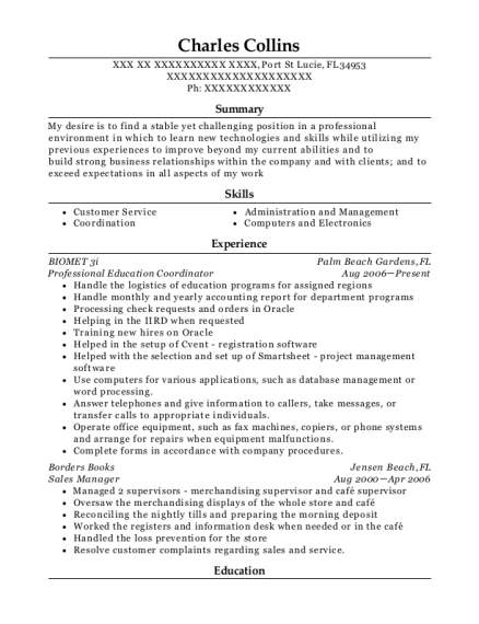 Professional Education Coordinator resume format Florida