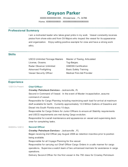 Chief Officer resume template Florida