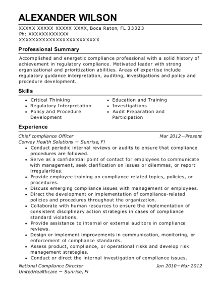 Chief Compliance Officer resume template Florida