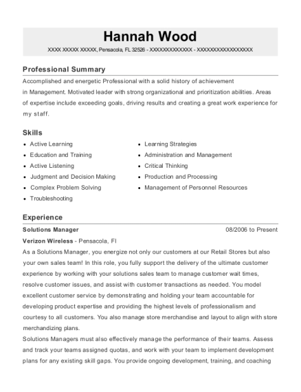 Solutions Manager resume format Florida