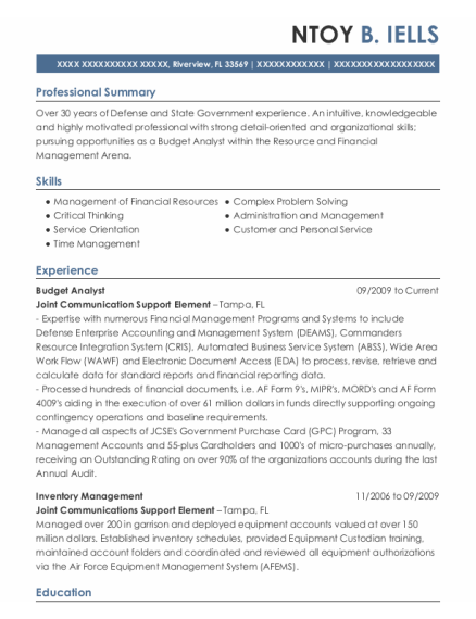 Budget Analyst resume example Florida