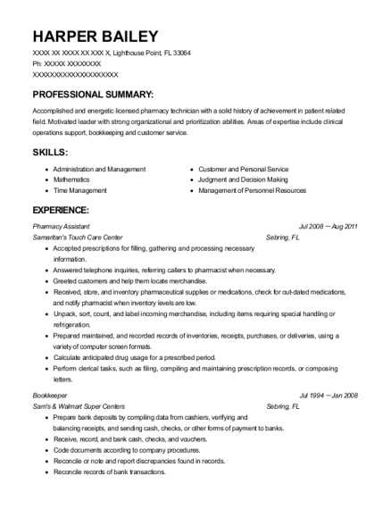 Pharmacy Assistant resume template Florida
