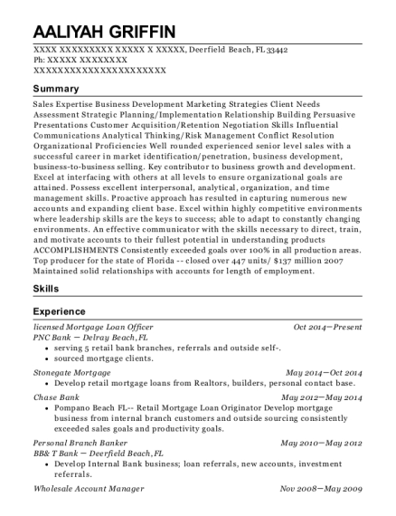 licensed Mortgage Loan Officer resume example Florida
