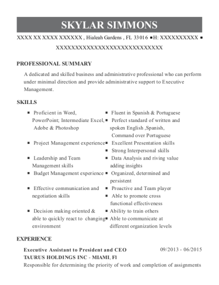 Executive Assistant to President and CEO resume example Florida
