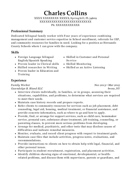 Family Worker resume template Florida
