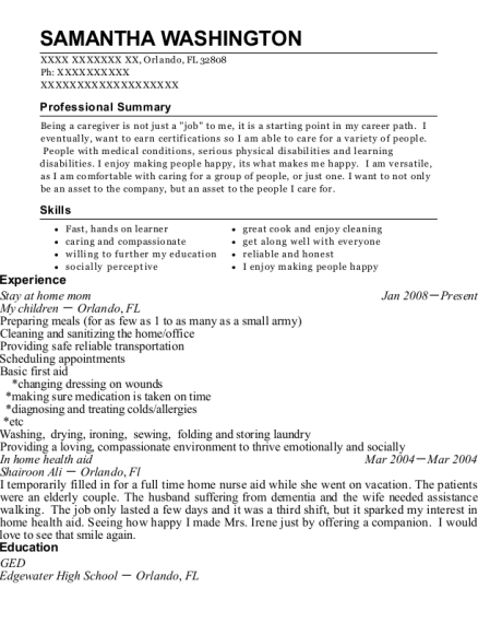 Stay at home mom resume format Florida