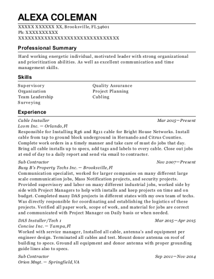 Cable Installer resume format Florida
