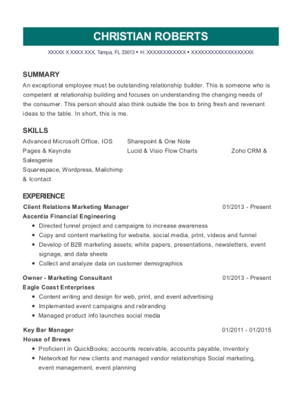 Client Relations Marketing Manager resume format Florida