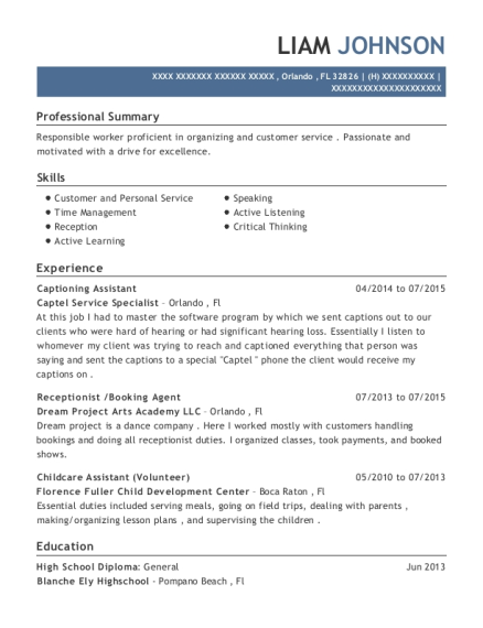 Captel Service Specialist Captioning Assistant Resume Sample