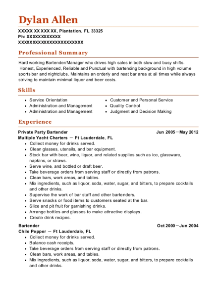 Private Party Bartender resume example Florida