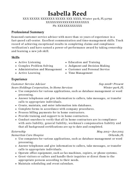 Customer Service Advisor resume sample Florida
